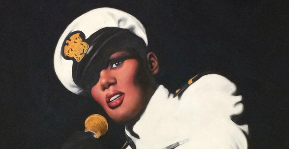 Grace Jones-schilderij in opdracht