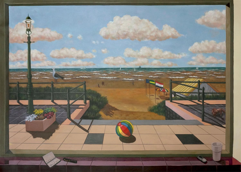 kopie opdracht maatwerk schilderij strand en boulevard