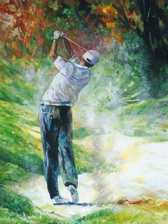 Golfer schilderij