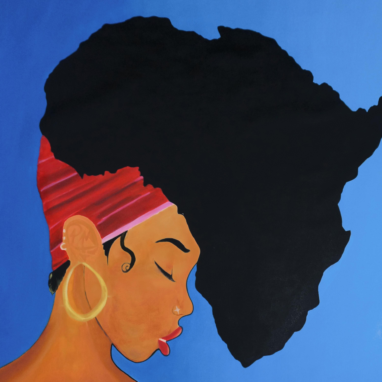 Blauwe achtergrond schilderij