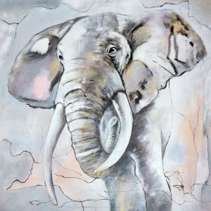 Schilderij van een foto - olifant