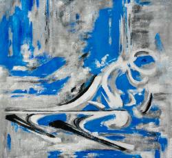 abstracte schilderij skier