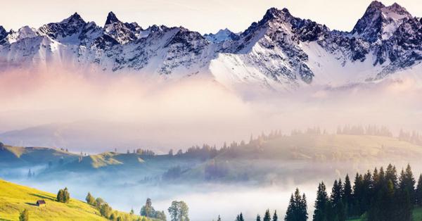 Betaalbare Kunst - Uitzicht in de bergen