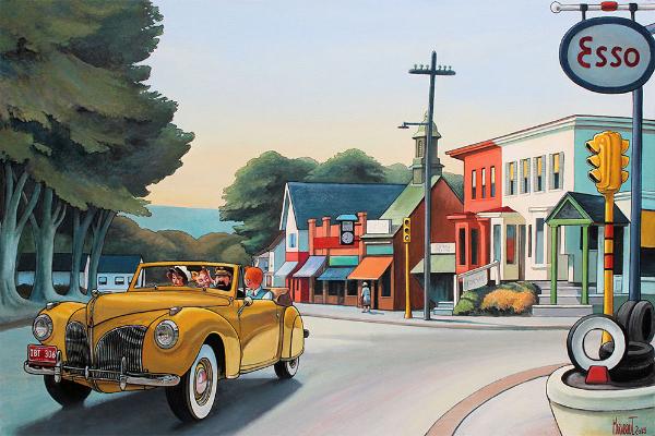 schilderij op maat; Kuifje in de auto