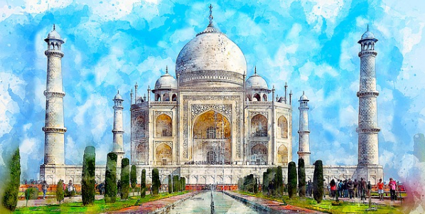 Taj Mahal nageschilderd