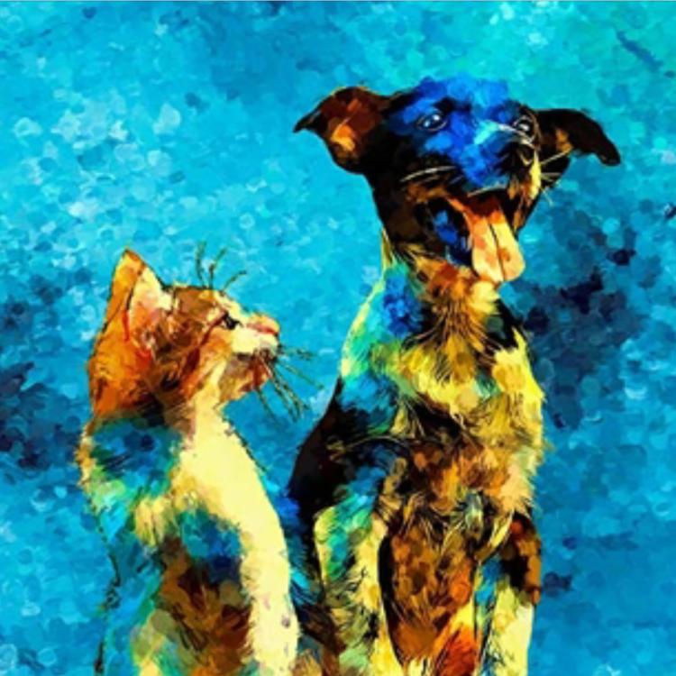 Peter – Schilderij hond en kat
