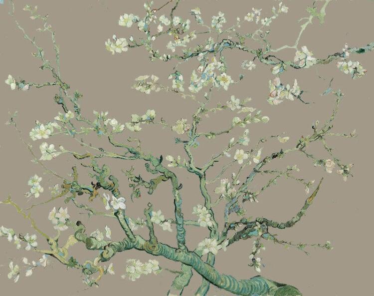 Amandel Bloesem in taupe Kunst op maat