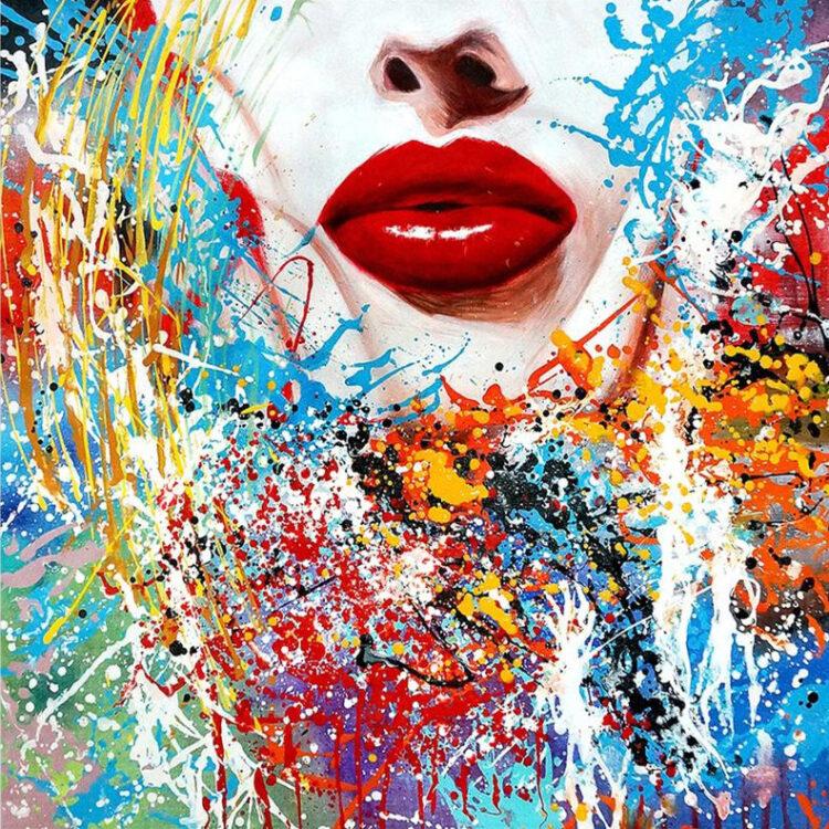 Lipstick kunstwerk op maat met lijst