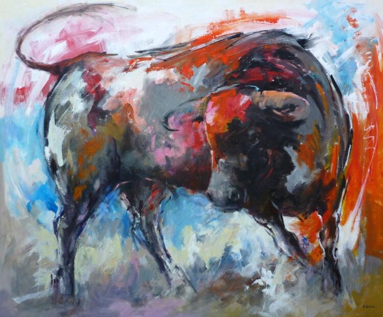Maatwerkschilderij stoere stier