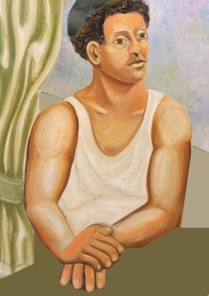 Portret van een man aan tafel op maat