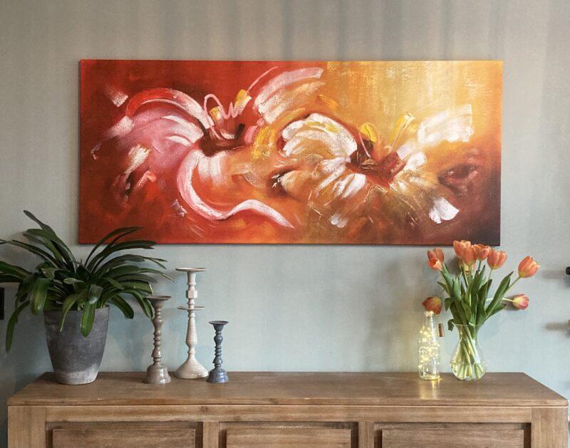Kleurrijk oranje schilderij