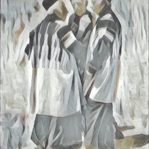 maatwerk schilderij Mannen in de bergen