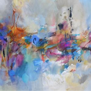 Abstract paars schilderij