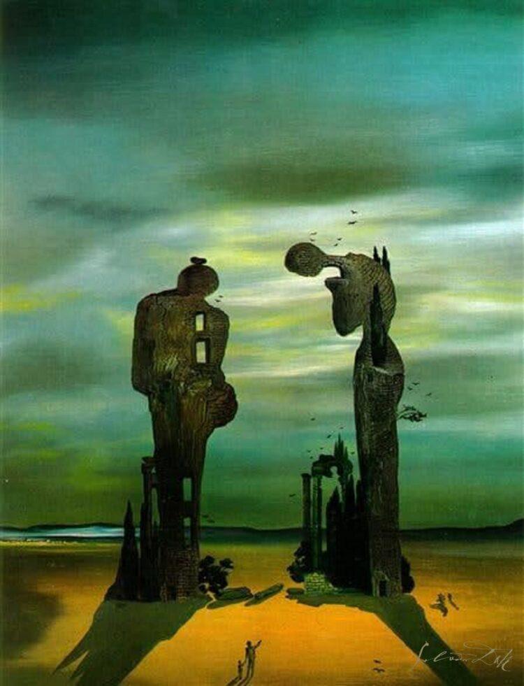 twee figuren in landschap op maat