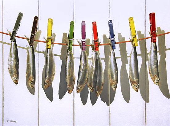 Visjes aan een lijn